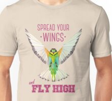 Geometric Bird (humming bird) - Spread your wings | Pájaro geométrico (colibrí) - Despliega tus alas Unisex T-Shirt