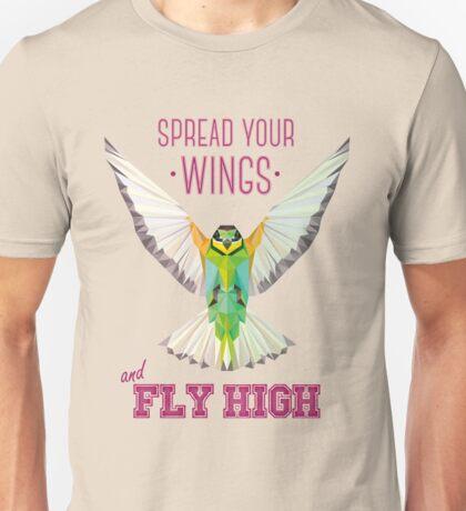 Geometric Bird (humming bird) - Spread your wings | Pájaro geométrico (colibrí) - Despliega tus alas Unisex T-Shirt