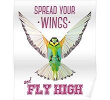 Geometric Bird (humming bird) - Spread your wings | Pájaro geométrico (colibrí) - Despliega tus alas Poster