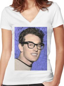 buddy holly Women's Fitted V-Neck T-Shirt