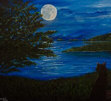 Blue Moonlit Bay by Tricia Winwood