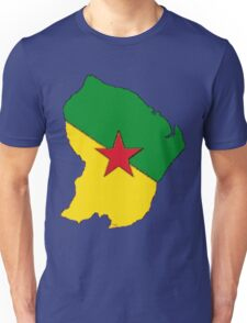 French Guiana Map With French Guianian Flag Unisex T-Shirt