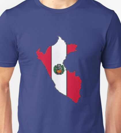 Peru Map With Peruvian Flag Unisex T-Shirt