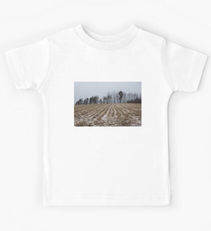 Snowy Winter Cornfields Kids Tee