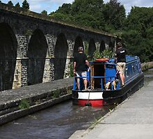 Dog on boat on Chirk aqueduct by turniptowers