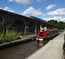 Woman on narrowboat waving at train by turniptowers