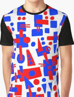 Blue and Red Shapes Abstract Graphic T-Shirt