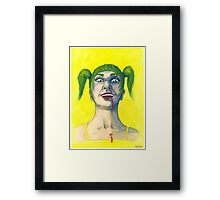 Crazy Girl in Yellow Framed Print