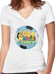 2014 World Champs Ball - Argentina Women's Fitted V-Neck T-Shirt