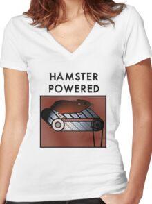 Hamster powered Women's Fitted V-Neck T-Shirt