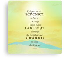 Serenity Prayer Yellow Sky Blue Mountain Canvas Print