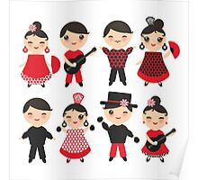 Happy flamencas on green Poster