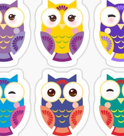 Colourful owls Sticker