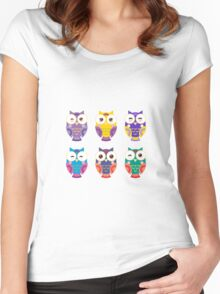 Colourful owls Women's Fitted Scoop T-Shirt