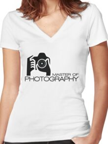 Photographer Camera T-Shirt Women's Fitted V-Neck T-Shirt