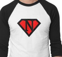 N letter in Superman style Men's Baseball ¾ T-Shirt