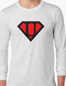 U letter in Superman style Long Sleeve T-Shirt