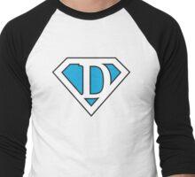 D letter in Superman style Men's Baseball ¾ T-Shirt