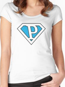 P letter in Superman style Women's Fitted Scoop T-Shirt