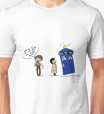Castiel and the Doctor - the angel has the phone box Unisex T-Shirt
