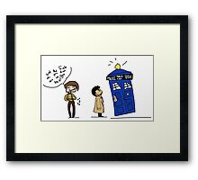 Castiel and the Doctor - the angel has the phone box Framed Print