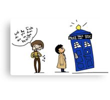 Castiel and the Doctor - the angel has the phone box Canvas Print