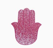 Hot Pink Glitter Hamsa One Piece - Long Sleeve