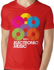 100% Electronic Music (black) Mens V-Neck T-Shirt