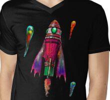 Retro Rocket Ship One Mens V-Neck T-Shirt