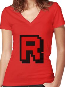 Team Pixellated R Women's Fitted V-Neck T-Shirt