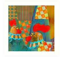 Two proud roosters Art Print