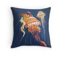 Painterly Jellyfish  Throw Pillow