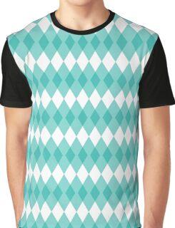 Turquoise Argyle Graphic T-Shirt