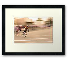 Cyclists Coming Around a Curve and into the Straightaway Framed Print