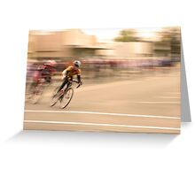Cyclists Coming Around a Curve and into the Straightaway Greeting Card