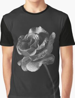 A Pink Rose in Black & White Graphic T-Shirt