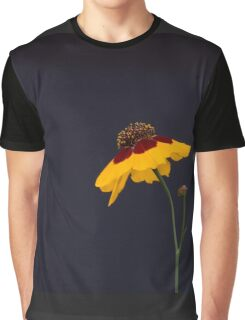 Yellow Flower with Stem on a Black Background - Aster Family Graphic T-Shirt