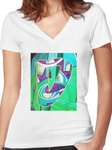 Urban Alphabet D Women's Fitted V-Neck T-Shirt