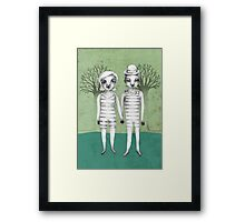 gymnast couple in the forest Framed Print