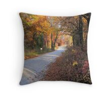 Country Fall Road Throw Pillow