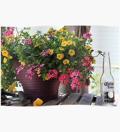 Flowers and empty beer bottle Poster