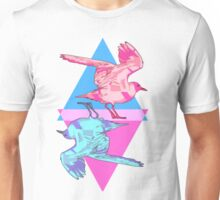 Pink and Blue Playing Card Seagulls Unisex T-Shirt