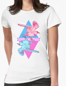 Pink and Blue Playing Card Seagulls Womens Fitted T-Shirt