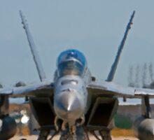 F 18 F/A Jet on the Tarmac Sticker
