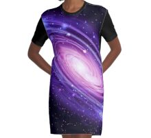 Andromeda Space Galaxy Graphic T-Shirt Dress