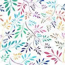 Colorful Pastel Colors Delicate Leafs Seamless Pattern by artonwear