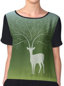 Deer with tree branch horns Chiffon Top