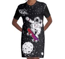 space astronaut skateboard Graphic T-Shirt Dress