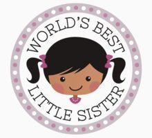 World's best little sister sticker, cartoon girl with dark skin and black hair by MheaDesign