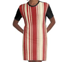 Modern Christmas stripe pattern series red currant, cream, blush Graphic T-Shirt Dress